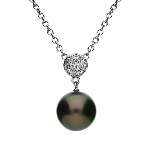 Mikimoto 18ct White Gold Diamond 9mm Black South Sea Pearl Necklace, MKM-402.