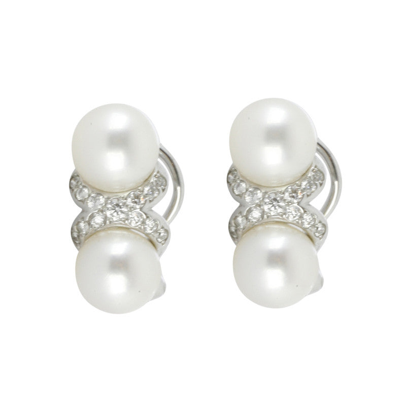 Mikimoto 18ct White Gold Diamond Akoya Pearl Clip On Earrings