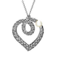 Mikimoto 18ct White Gold Diamond Akoya Pearl Looped Heart Necklace