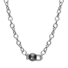 Mikimoto 18ct White Gold Diamond Black A+ South Sea Pearl Necklace