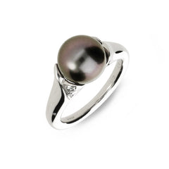 Mikimoto 18ct White Gold Diamond Black South Sea Pearl Ring D