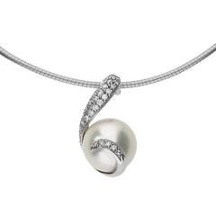 Mikimoto 18ct White Gold Diamond White South Sea Pearl Swirl Necklace