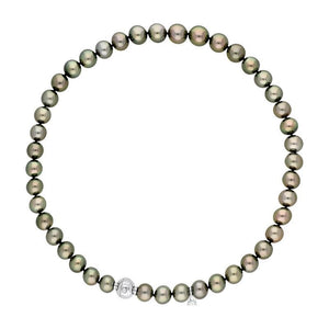 Mikimoto 18ct White Gold Black South Sea Pearl Graduated Necklace