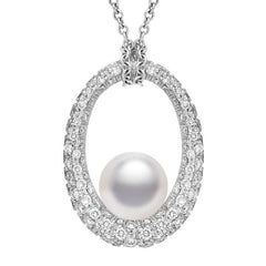 Mikimoto 18ct White Gold Diamond White South Sea Pearl Loop Necklace