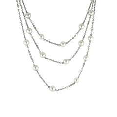 Mikimoto 18ct White Gold White A+ Akoya Pearl Layered Necklace