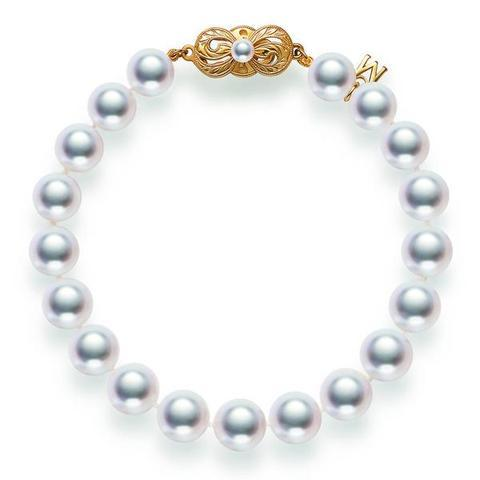 Mikimoto 18ct Yellow Gold 5.5mm White A1 Akoya Pearl Bracelet