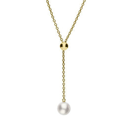 Mikimoto 18ct Yellow Gold 8mm White Akoya Pearl Drop Necklace