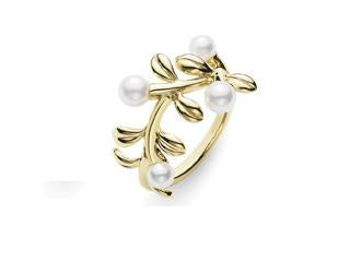 Mikimoto 18ct Yellow Gold Akoya Pearl Branch Ring