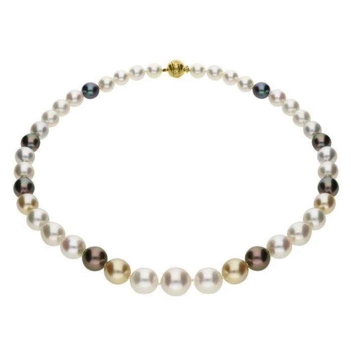 Mikimoto 18ct Yellow Gold Black White & Gold South Sea Pearl Necklace