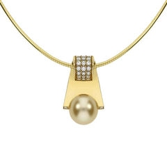Mikimoto 18ct Yellow Gold Diamond 11mm Golden South Sea Pearl Necklace