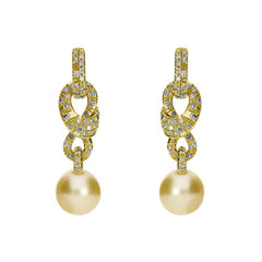 Mikimoto 18ct Yellow Gold Diamond Golden South Sea Pearl Drop Earrings