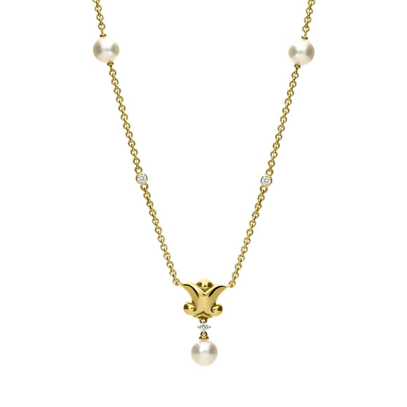 Mikimoto 18ct Yellow Gold Diamond White Akoya Pearl Drop Necklace, MKM-107.