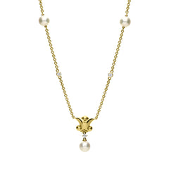 Mikimoto 18ct Yellow Gold Diamond White Akoya Pearl Drop Necklace