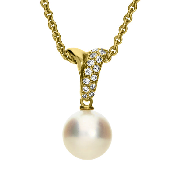 Mikimoto 18ct Yellow Gold Diamond White Akoya Pearl Drop Necklace, MKM-104.
