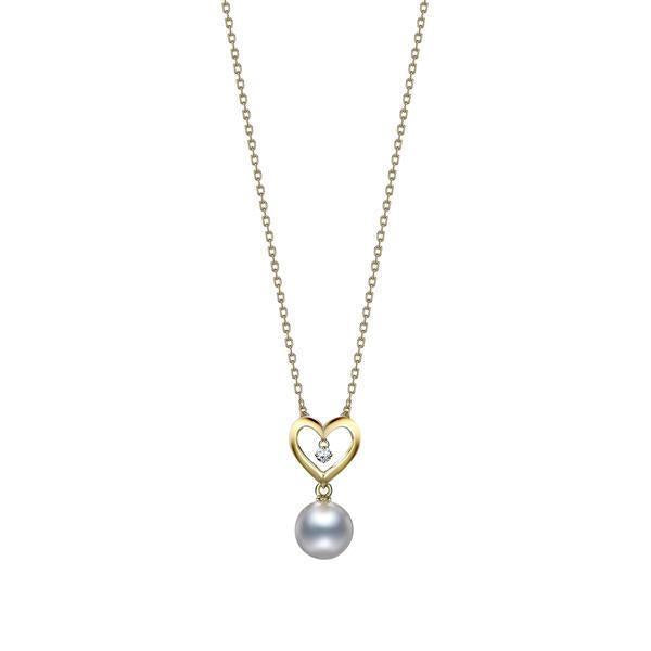 5d08d5cea323 Mikimoto 18ct Yellow Gold Diamond White Akoya Pearl Heart Necklace PP  20325D K