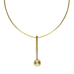 Mikimoto 18ct Yellow Gold Sapphire Golden South Sea Pearl Drop Necklace