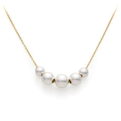 Mikimoto 18ct Yellow Gold White Akoya Pearl Necklace