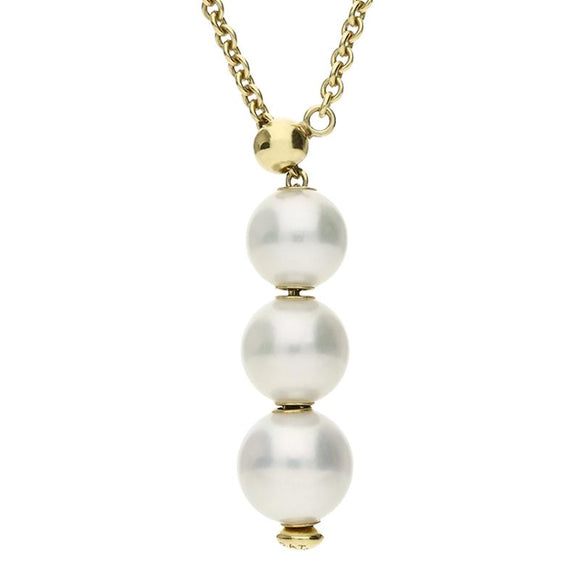 Mikimoto 18ct Yellow Gold White Akoya Pearl Triple Drop Necklace, PPL 353 K 3.