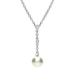 Mikimoto Platinum Diamond White Pearl Necklace