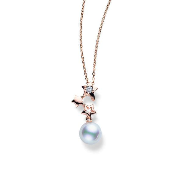 Mikimoto Starry Night 18ct Rose Gold Diamond Pearl Necklace