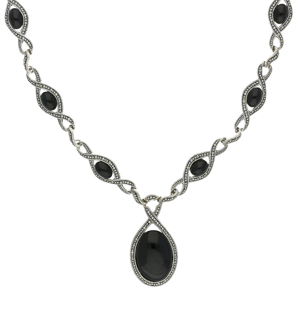 Whitby Jet Necklace 13 Stone Twist Marcasite And Silver