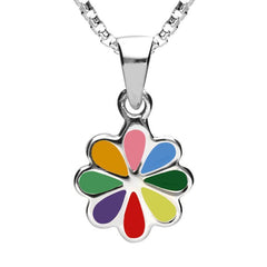 Sterling Silver NSPCC Enamel Multicoloured Eight Petal Flower Necklace