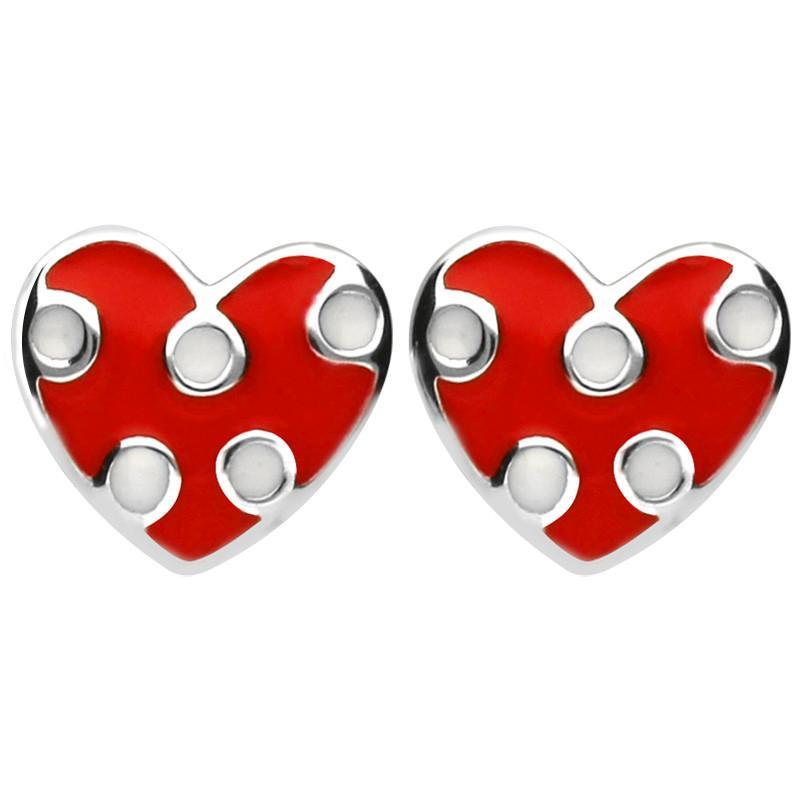 NSPCC Silver Enamel Red and White Spotty Heart Stud Earrings