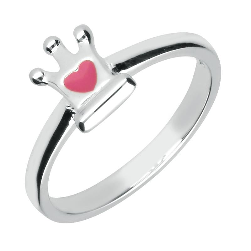 NSPCC Silver Enamel Small Heart Crown Ring