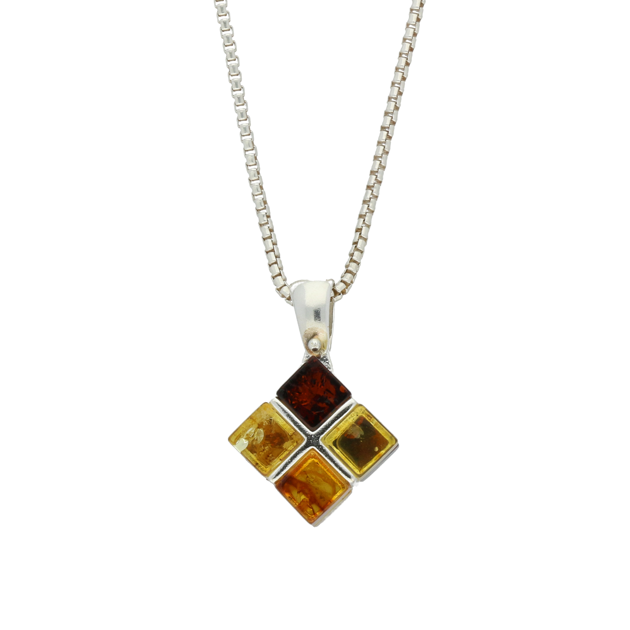 Amber Necklace Cube Silver