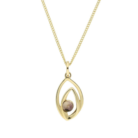 Blue John Necklace Abstract Flame Drop 9ct Yellow Gold