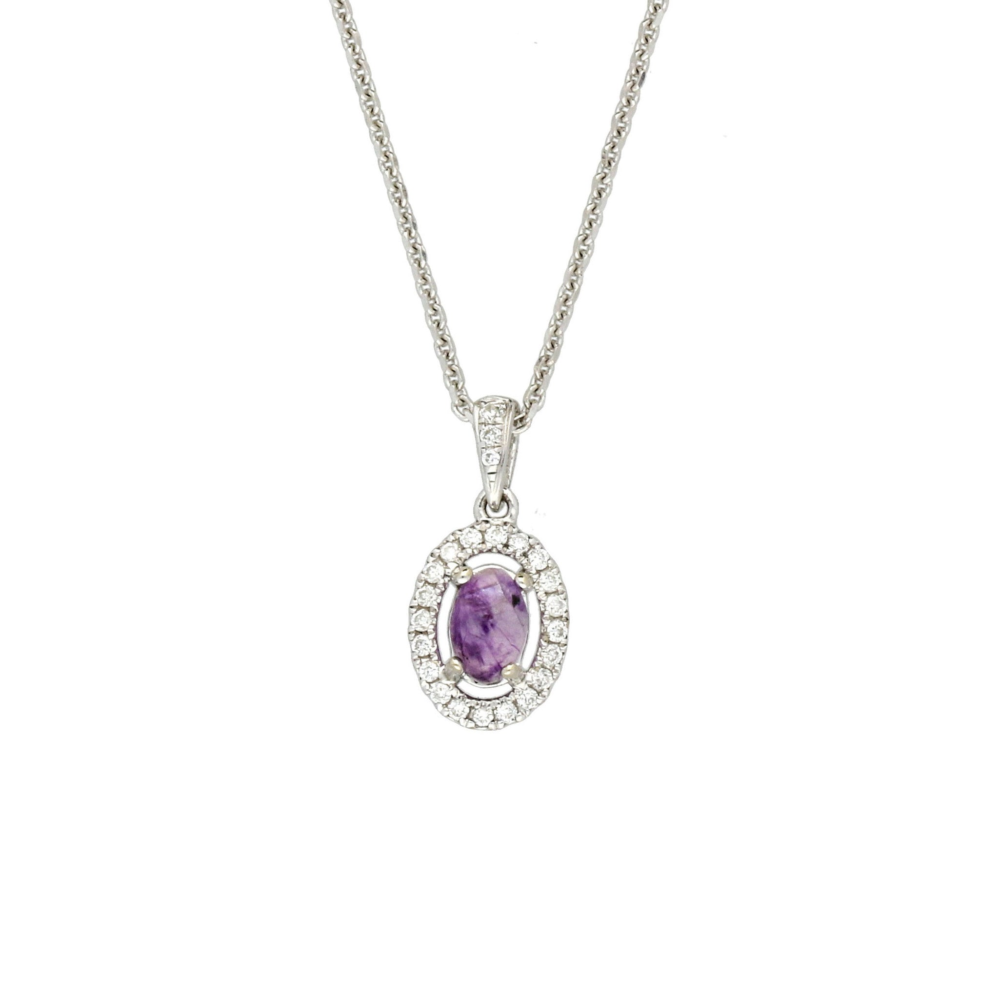 Blue John Pendant Oval With Diamonds 18ct White Gold