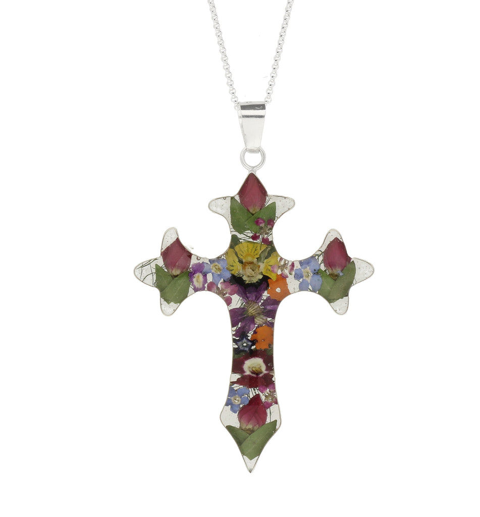 Floral Necklace Mixed Pointed Cross Silver Large