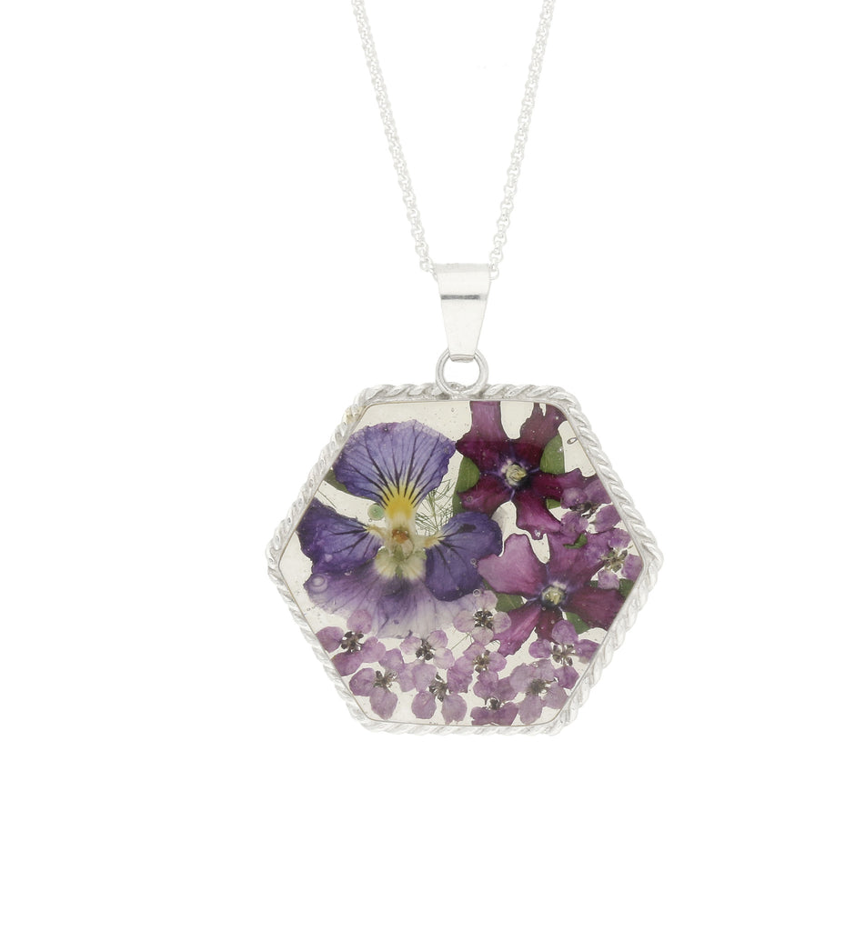 Floral Necklace Blue & Purple Hexagon Silver Large