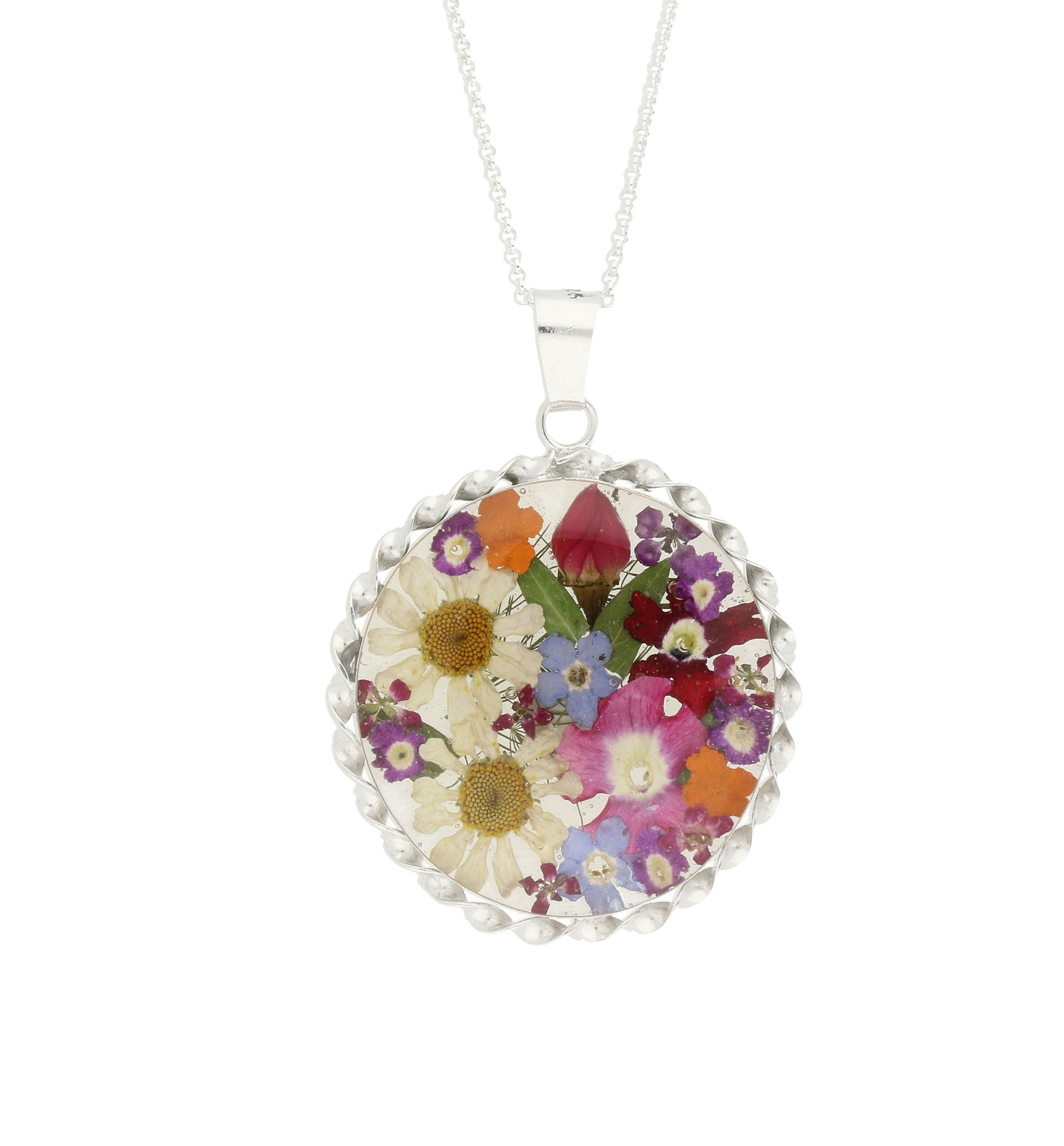 Floral Necklace Mixed Colours Round Silver Large