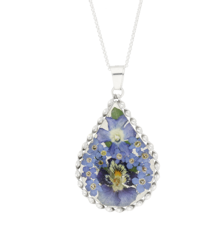 Floral Necklace Blue Teardrop Silver Large