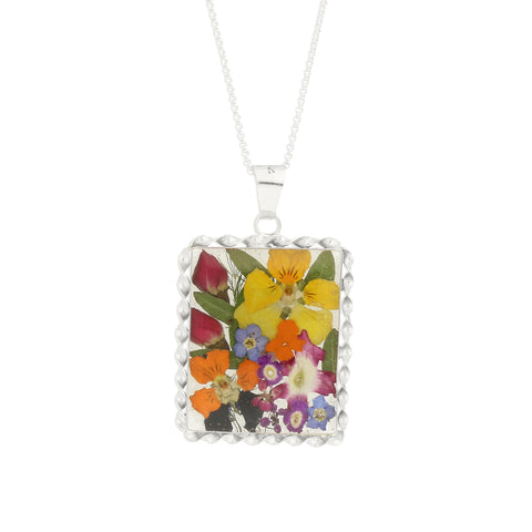 Floral Necklace Mixed Rectangle Silver Large