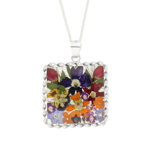 Floral Necklace Mixed Colours Square Silver Large