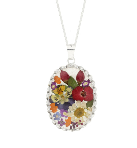 Floral Necklace Mixed Oval Silver Large
