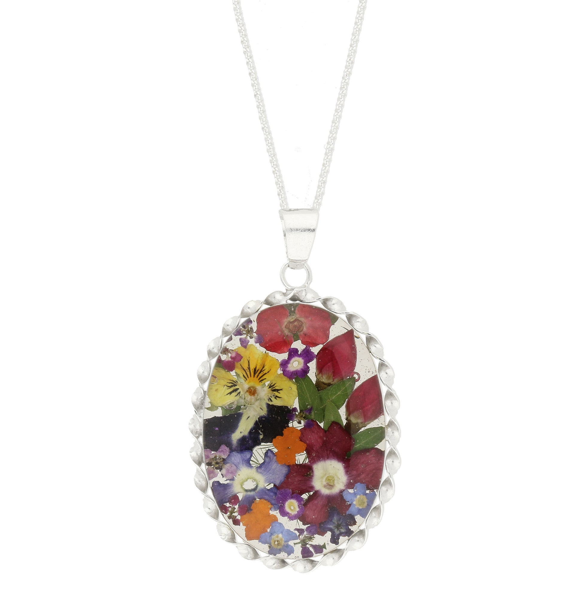 Floral Necklace Mixed Colours Oval Silver Large