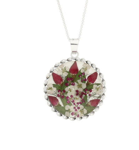 Floral Necklace Red, White & Green Round Silver Large