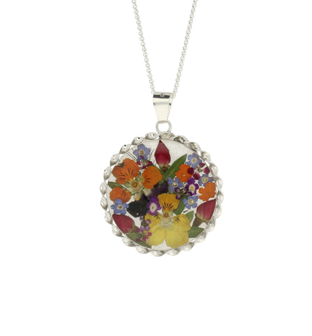 Floral Necklace Mixed Colourful Round Silver Large