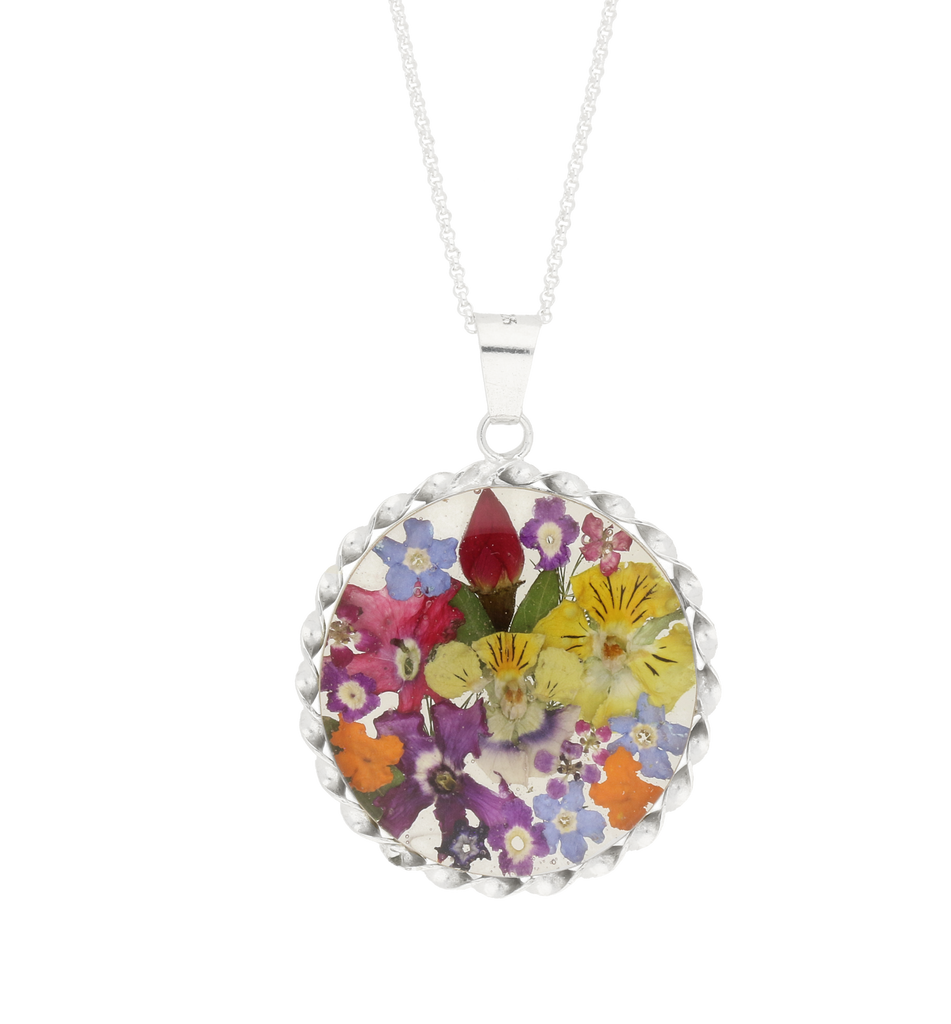 Floral Necklace Mixed Bright Round Silver Large