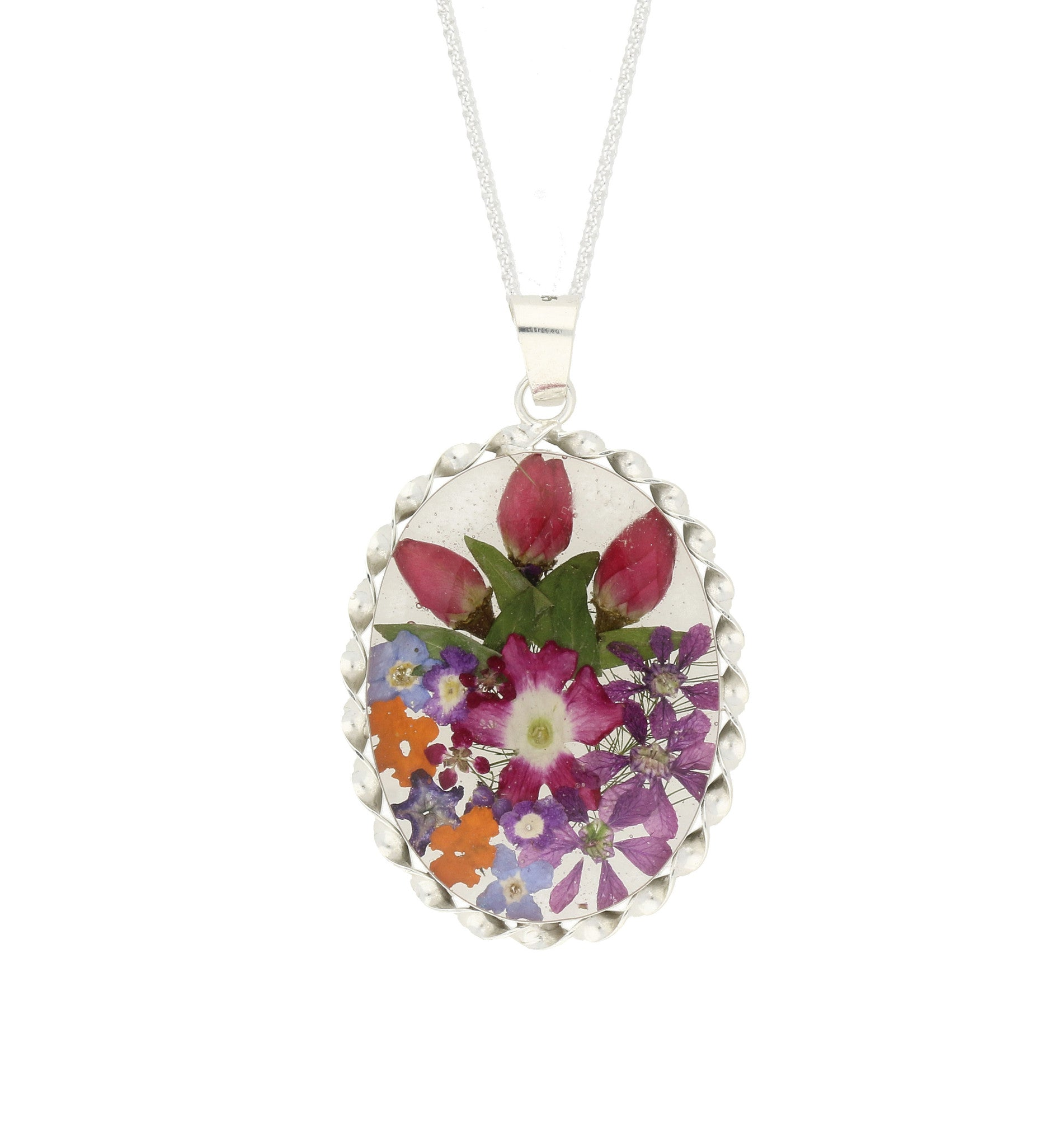 Floral Necklace Pink & Purple Mixed Oval Silver Large