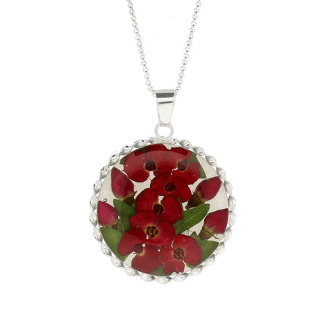 Floral Necklace Red Round Silver Large