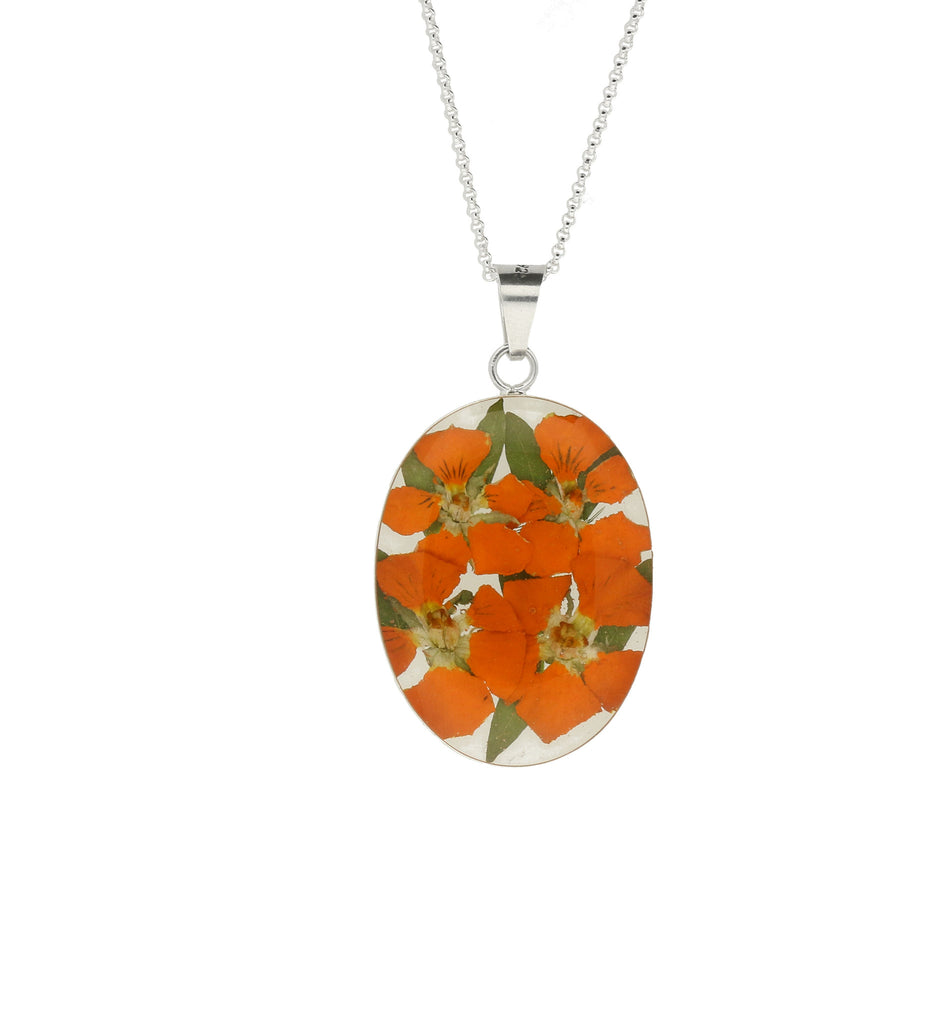 Floral Necklace Orange Oval Silver Large