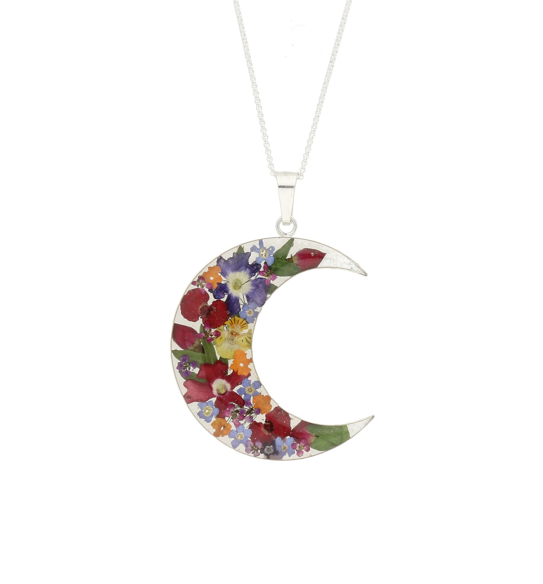 Floral Necklace Mixed Colours Crescent Silver Large