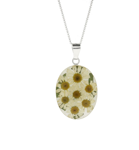 Floral Necklace White & Yellow Oval Silver Large