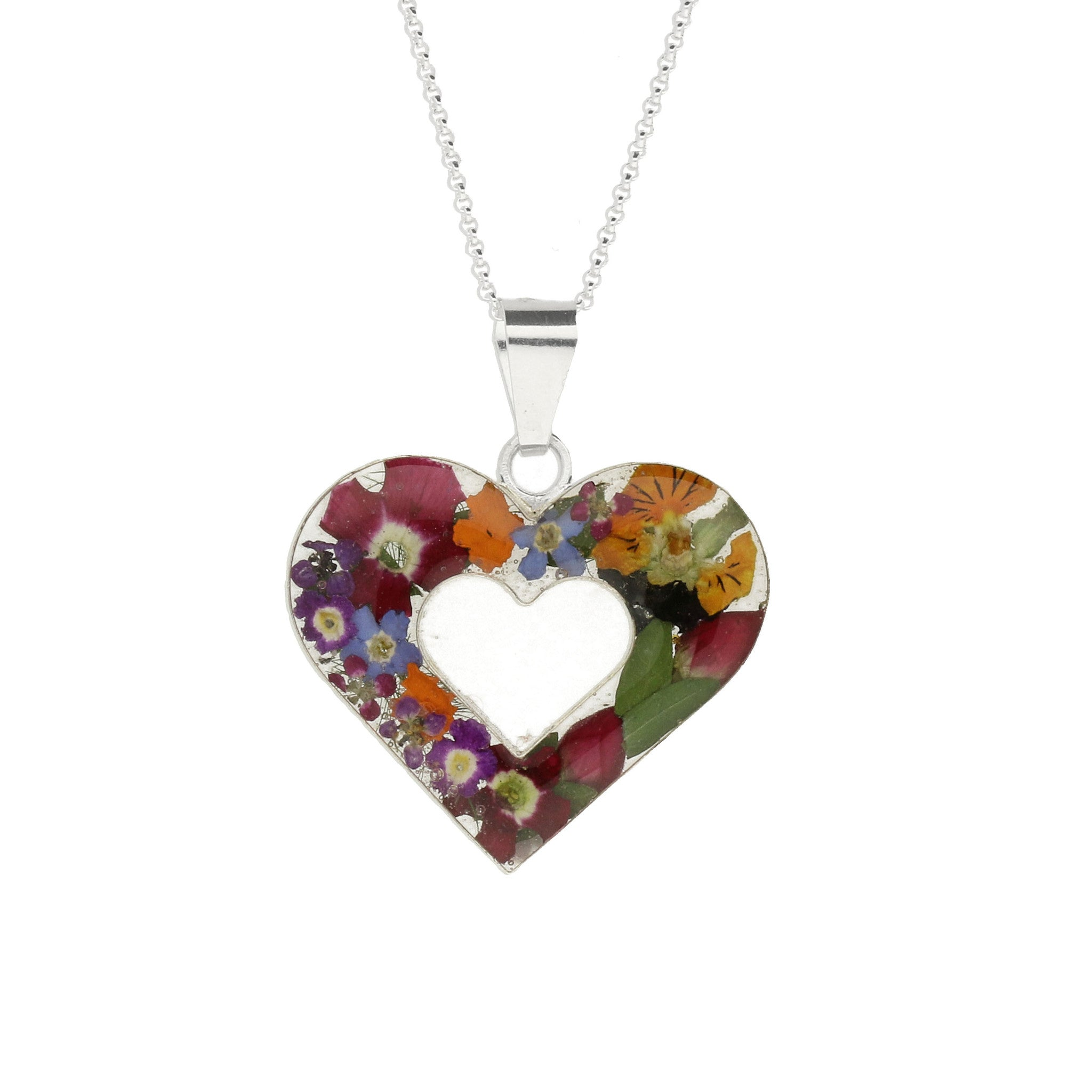 Floral Necklace Mixed Double Heart Silver Large