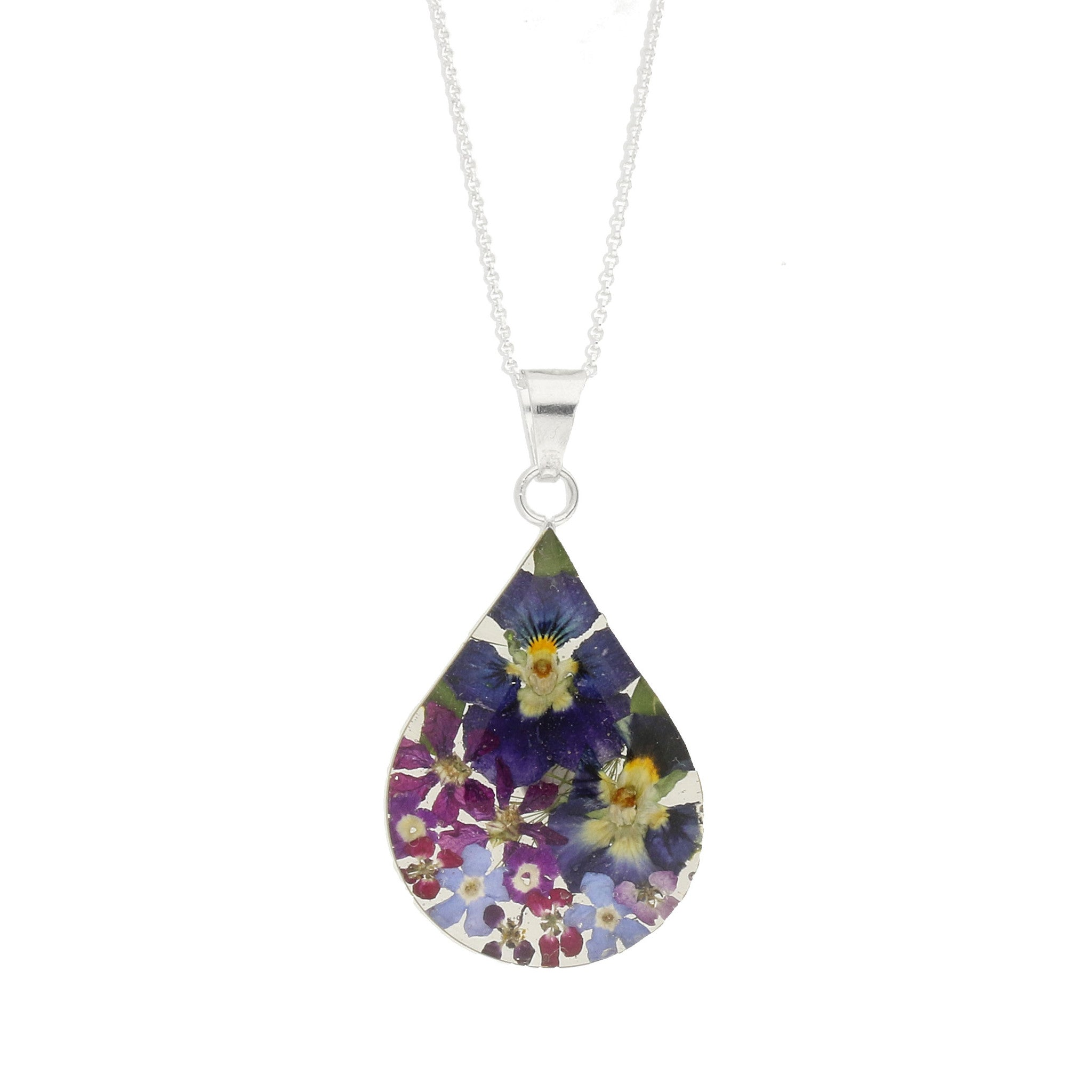 Floral Necklace Purple & Blue Teardrop Silver Large