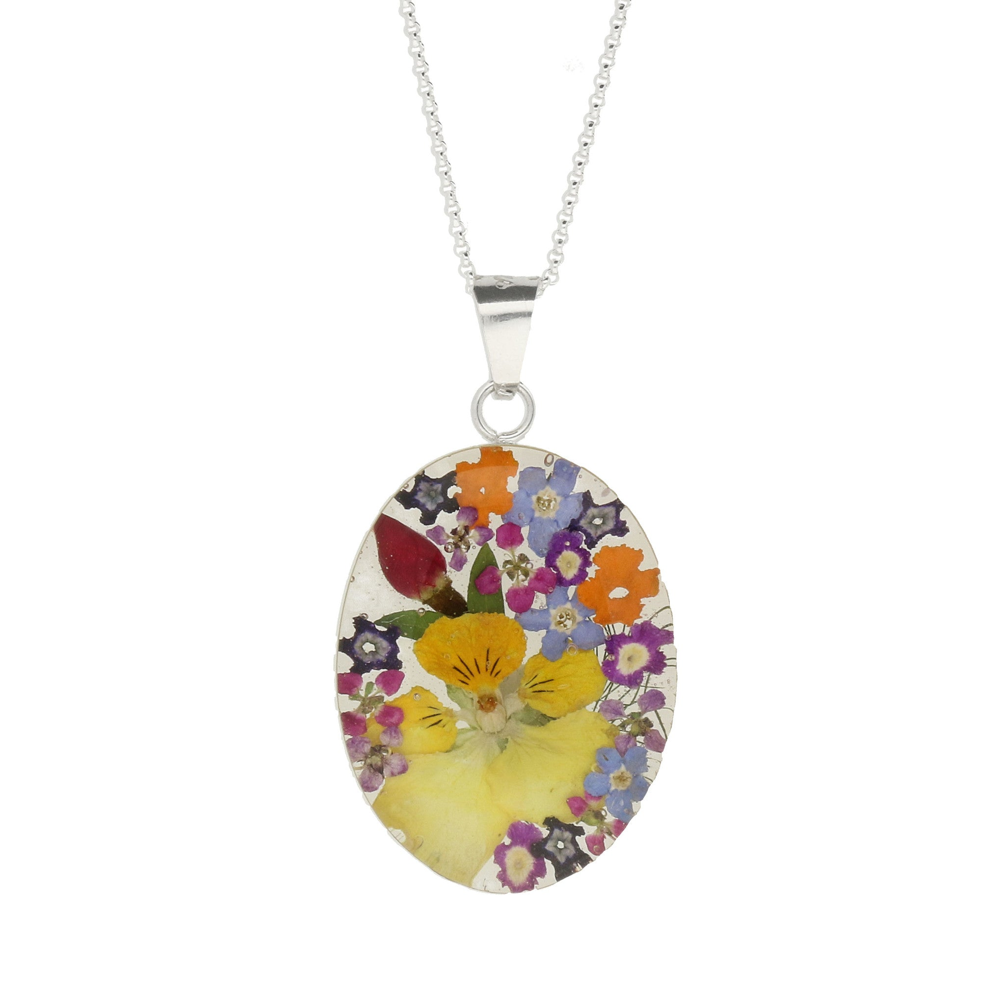 Floral Necklace Mixed Petal Oval Silver Large